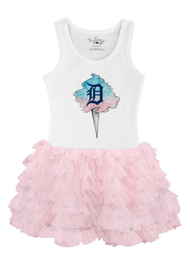 Detroit Tigers Toddler Cotton Candy Pink Ruffle Dress