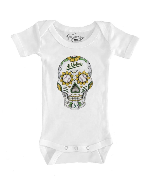 Oakland Athletics Infant Sugar Skull Short Sleeve Snapper