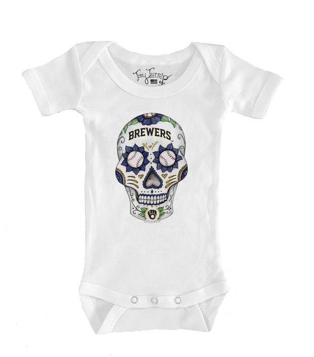 Milwaukee Brewers Infant Sugar Skull Short Sleeve Snapper