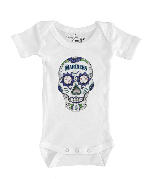 Seattle Mariners Infant Sugar Skull Short Sleeve Snapper
