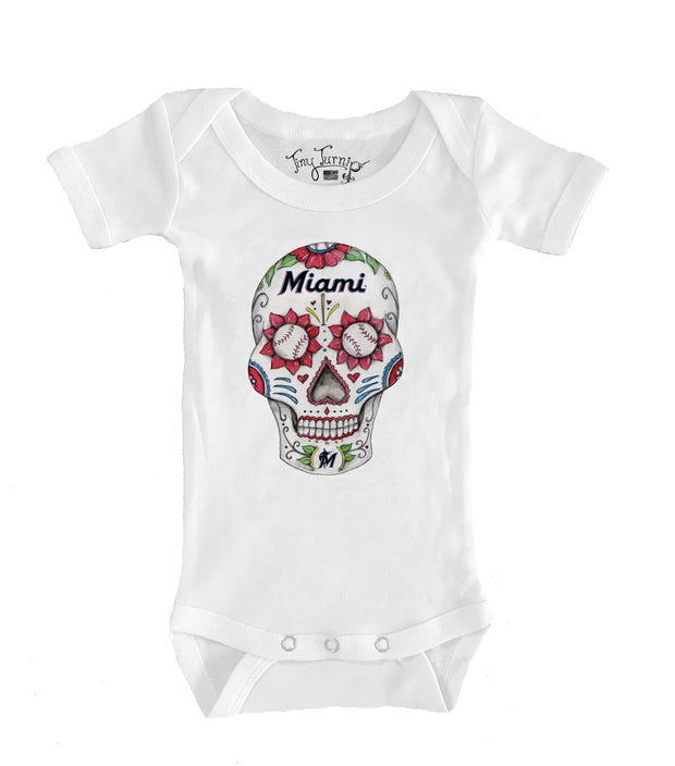 Miami Marlins Infant Sugar Skull Short Sleeve Snapper