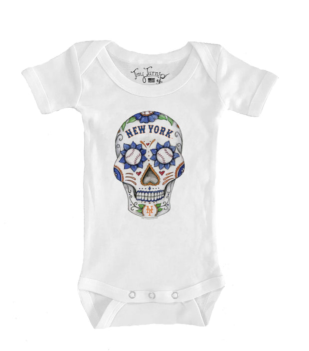 New York Mets Infant Sugar Skull Short Sleeve Snapper