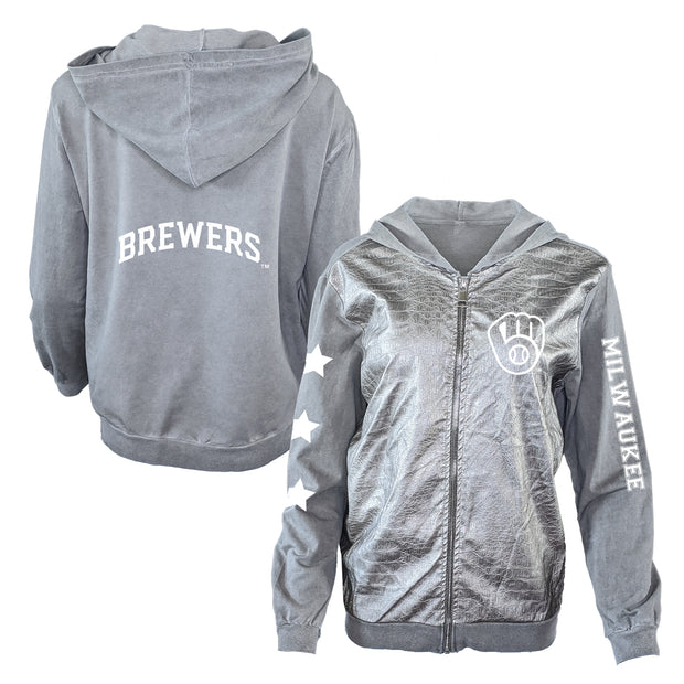 Milwaukee Brewers Logo Women's Metallic Jacket