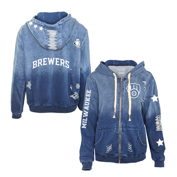 Milwaukee Brewers Logo Rocky Ombre Zip Up Hoodie