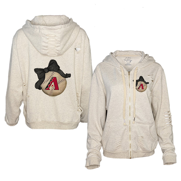 Arizona Diamondbacks Baseball Bow Oatmeal Zip Up Hoodie