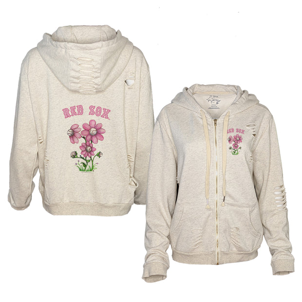 Boston Red Sox Bloomin' Baseball Rocky Oatmeal Zip Up Hoodie