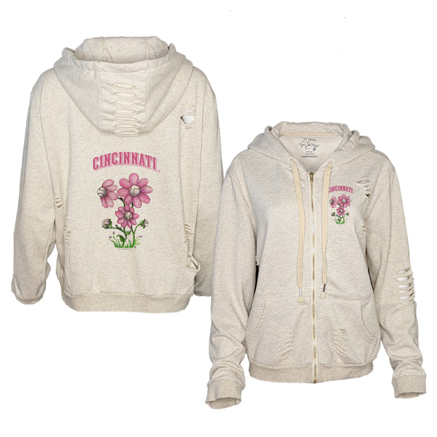 Cincinnati Reds Bloomin' Baseball Rocky Oatmeal Zip Up Hoodie