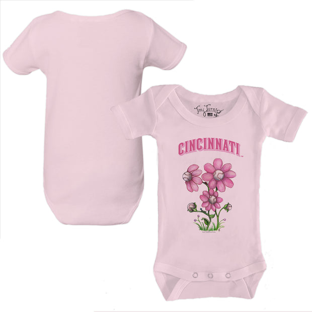 Cincinnati Reds Bloomin' Baseball Infant Short Sleeve Snapper