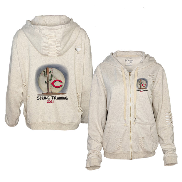 Cincinnati Reds Spring Training 2021 Rocky Oatmeal Zip Up Hoodie