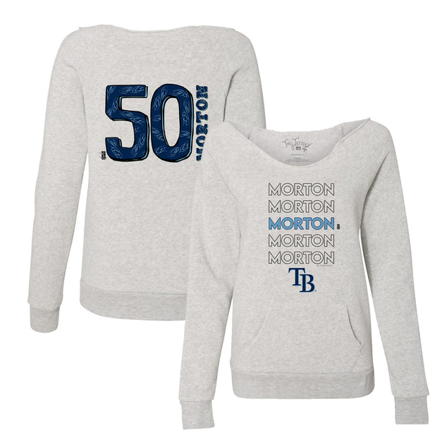 Tampa Bay Rays Charlie Morton Stacked Women's Slouchy Sweatshirt