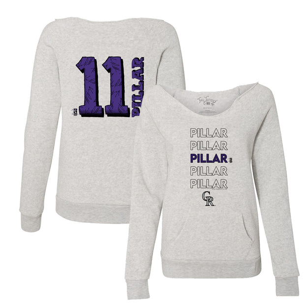Colorado Rockies Kevin Pillar Stacked Women's Slouchy Sweatshirt