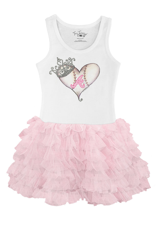 Atlanta Braves Toddler Tiara Heart Pink Ruffle Dress