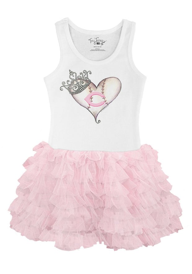 Cincinnati Reds Toddler Tiara Heart Pink Ruffle Dress