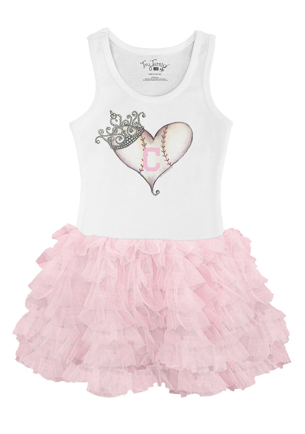 Cleveland Indians Toddler Tiara Heart Pink Ruffle Dress