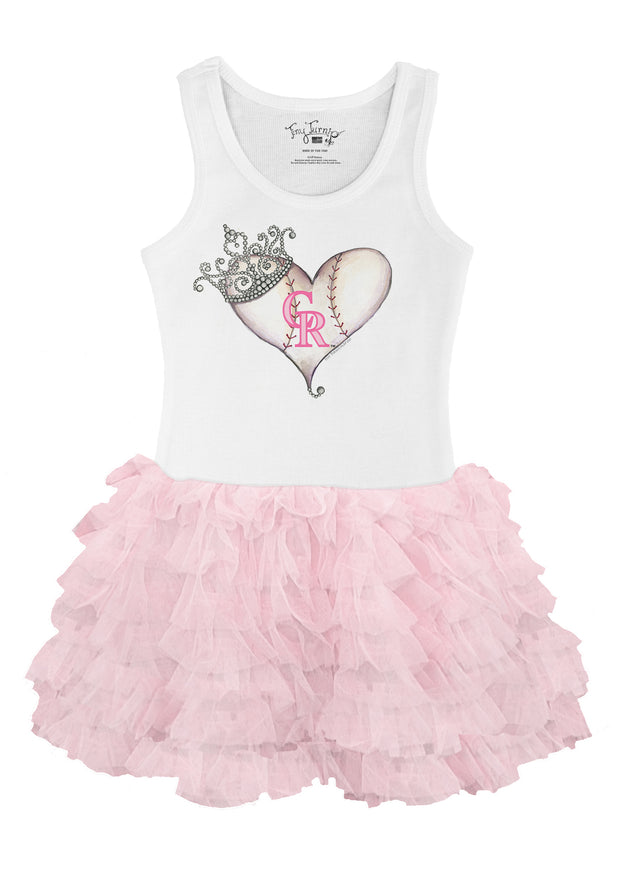 Colorado Rockies Toddler Tiara Heart Pink Ruffle Dress
