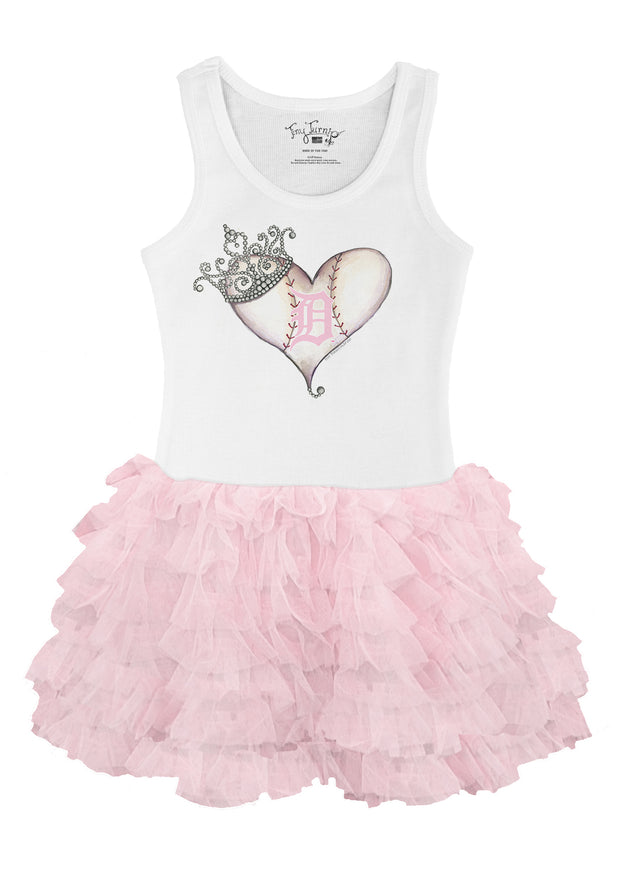 Detroit Tigers Toddler Tiara Heart Pink Ruffle Dress
