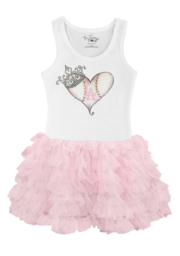 Los Angeles Dodgers Toddler Tiara Heart Pink Ruffle Dress