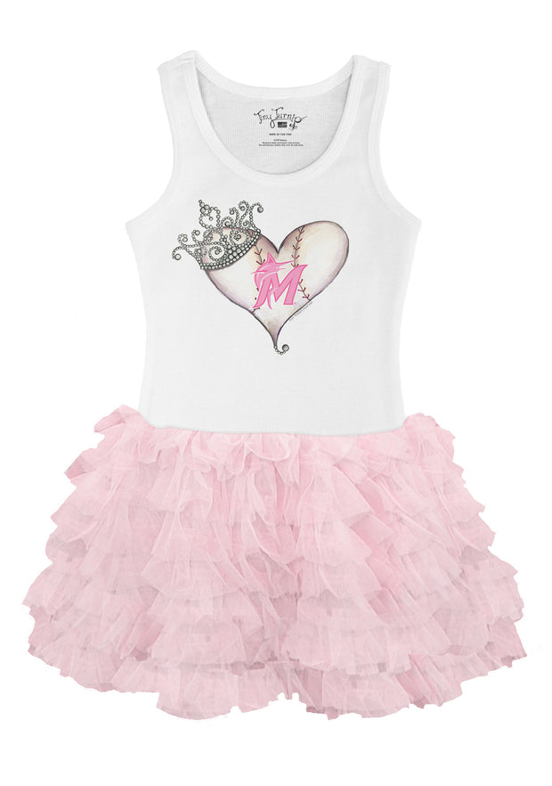 Miami Marlins Youth Tiara Heart Pink Ruffle Dress