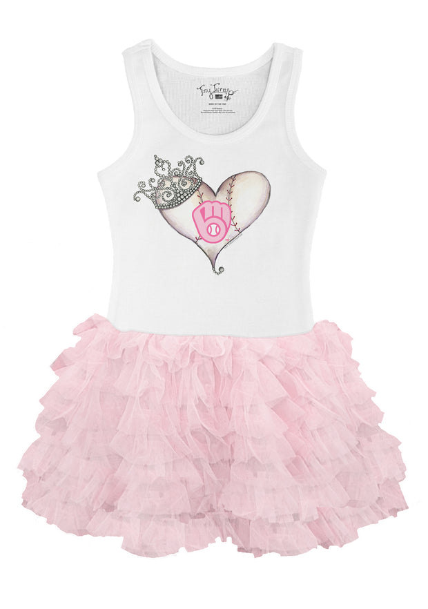 Milwaukee Brewers Toddler Tiara Heart Pink Ruffle Dress