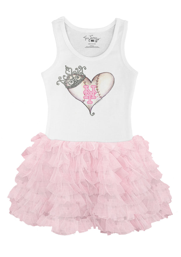 New York Mets Toddler Tiara Heart Pink Ruffle Dress
