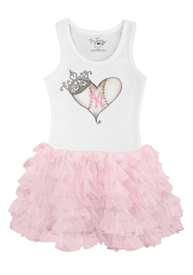 New York Yankees Infant Tiara Heart Pink Ruffle Dress