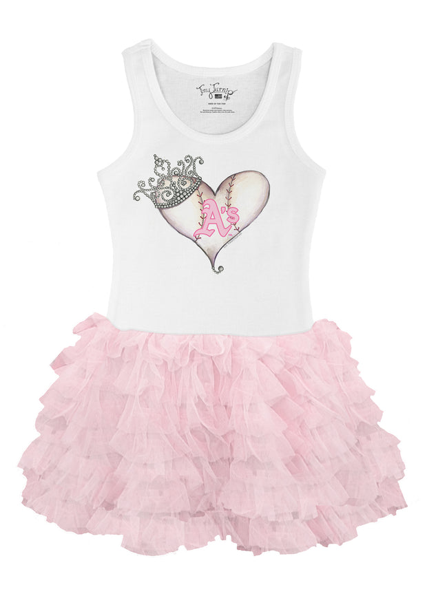 Oakland Athletics Toddler Tiara Heart Pink Ruffle Dress