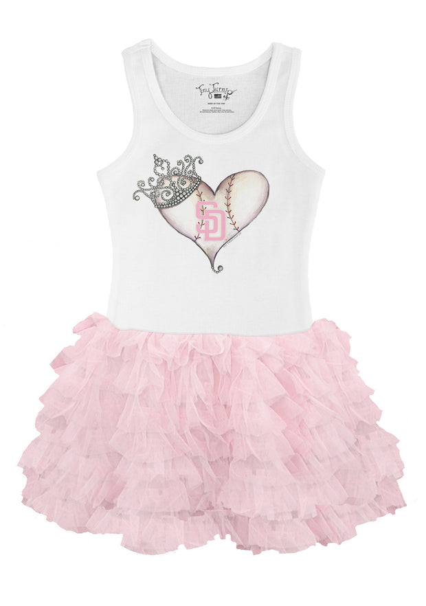 San Diego Padres Youth Tiara Heart Pink Ruffle Dress