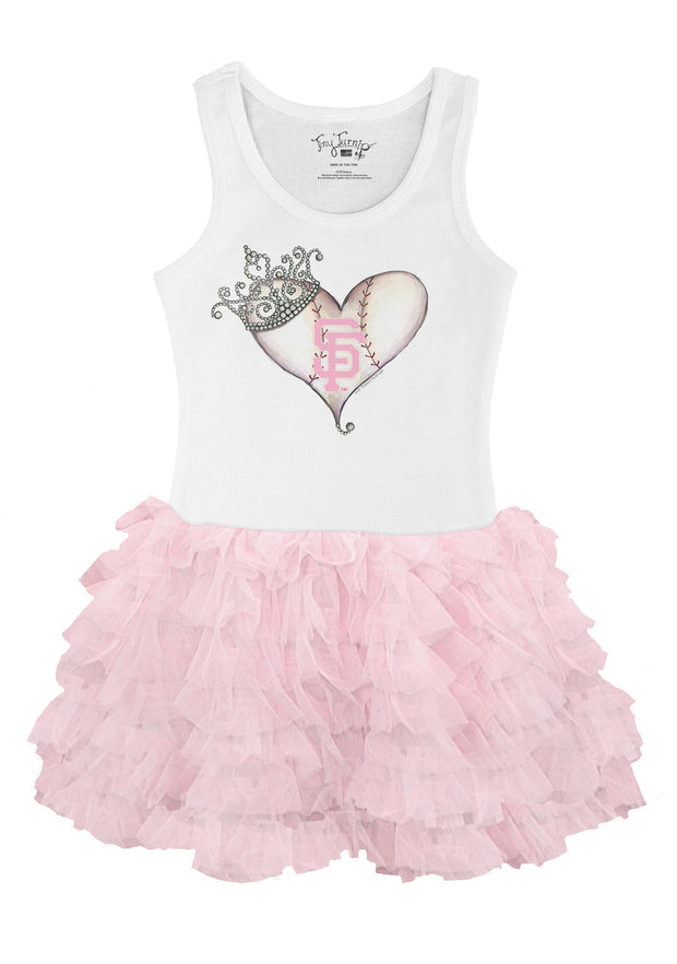San Francisco Giants Youth Tiara Heart Pink Ruffle Dress