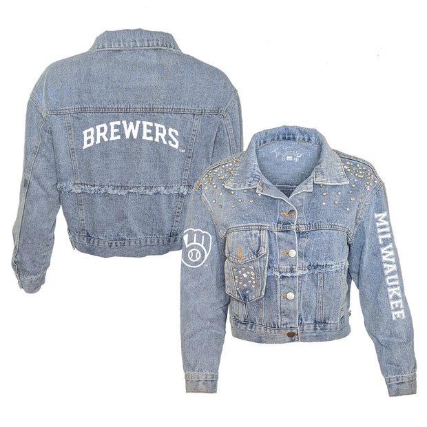Milwaukee Brewers Logo Rhinestone Denim Jacket