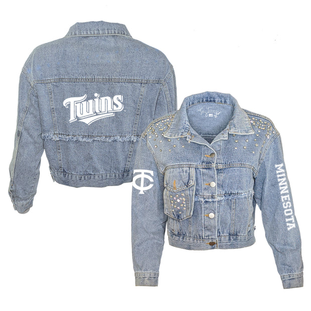 Minnesota Twins Logo Rhinestone Denim Jacket