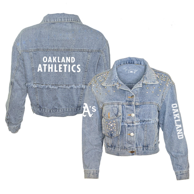 Oakland Athletics Logo Rhinestone Denim Jacket