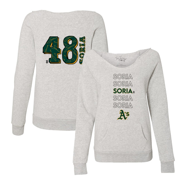 Oakland Athletics Joakim Soria Stacked Women's Slouchy Sweatshirt