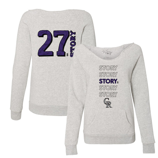 Colorado Rockies Trevor Story Stacked Women's Slouchy Sweatshirt
