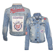 Washington Nationals 2019 World Series Champions Women's Distressed Denim Jacket