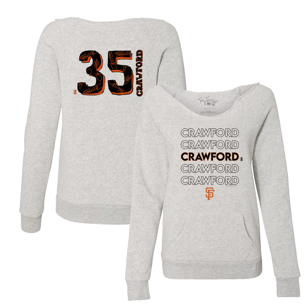San Francisco Giants Brandon Crawford Stacked Women's Slouchy Sweatshirt