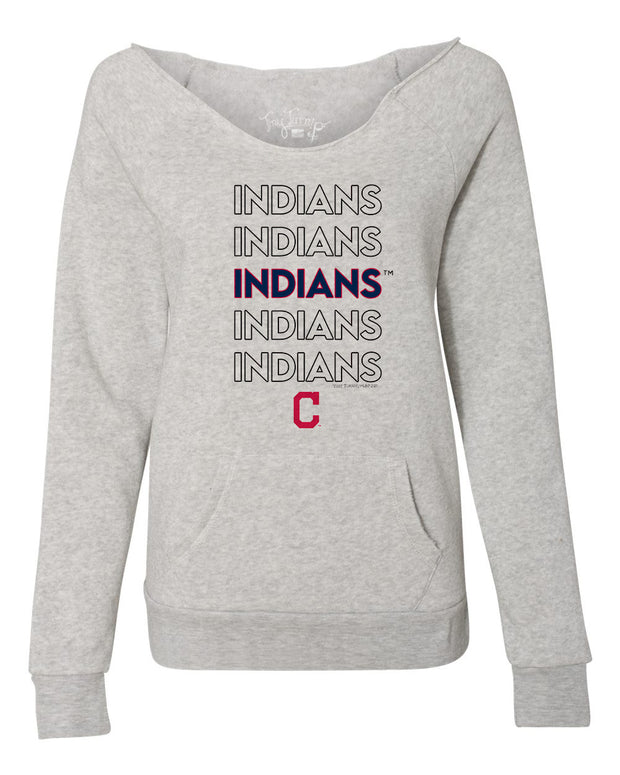 Cleveland Indians Women's Stacked Slouchy Sweatshirt