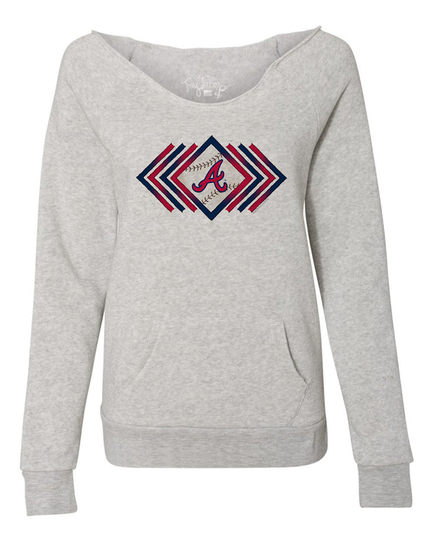 Atlanta Braves Women's Prism Arrows Slouchy Sweatshirt