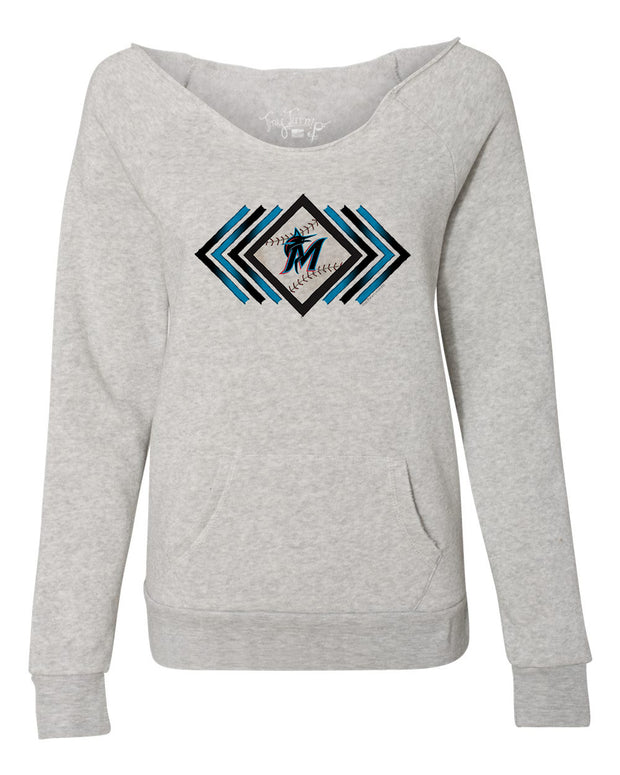 Miami Marlins Women's Prism Arrows Slouchy Sweatshirt