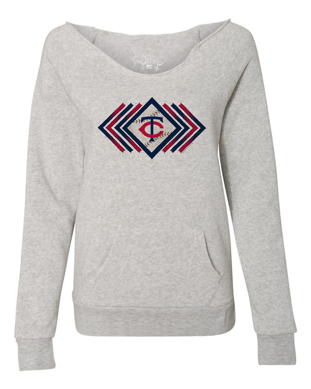 Minnesota Twins Women's Prism Arrows Slouchy Sweatshirt