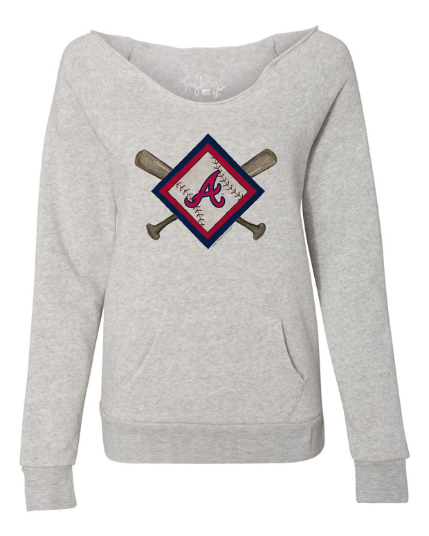 Atlanta Braves Women's Diamond Crossbats Slouchy Sweatshirt