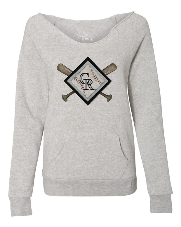 Colorado Rockies Women's Diamond Crossbats Slouchy Sweatshirt