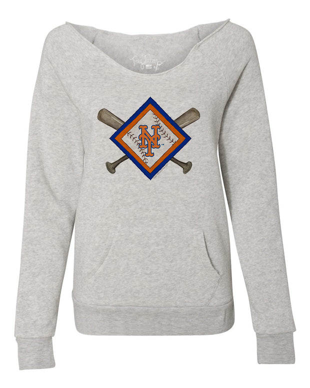 New York Mets Women's Diamond Crossbats Slouchy Sweatshirt