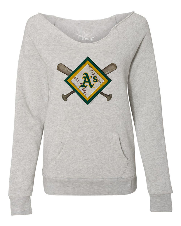 Oakland Athletics Women's Diamond Crossbats Slouchy Sweatshirt