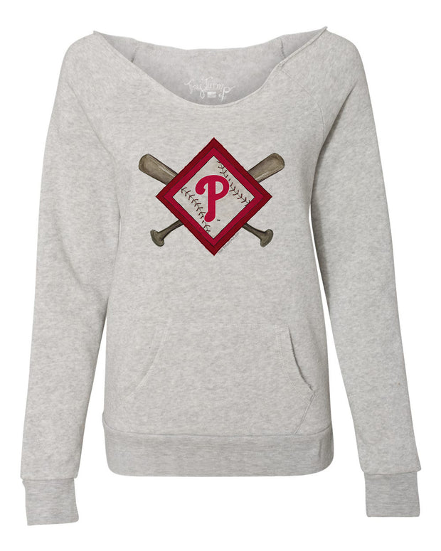 Philadelphia Phillies Women's Diamond Crossbats Slouchy Sweatshirt