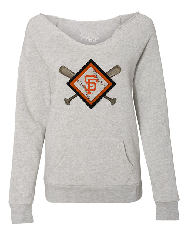 San Francisco Giants Women's Diamond Crossbats Slouchy Sweatshirt
