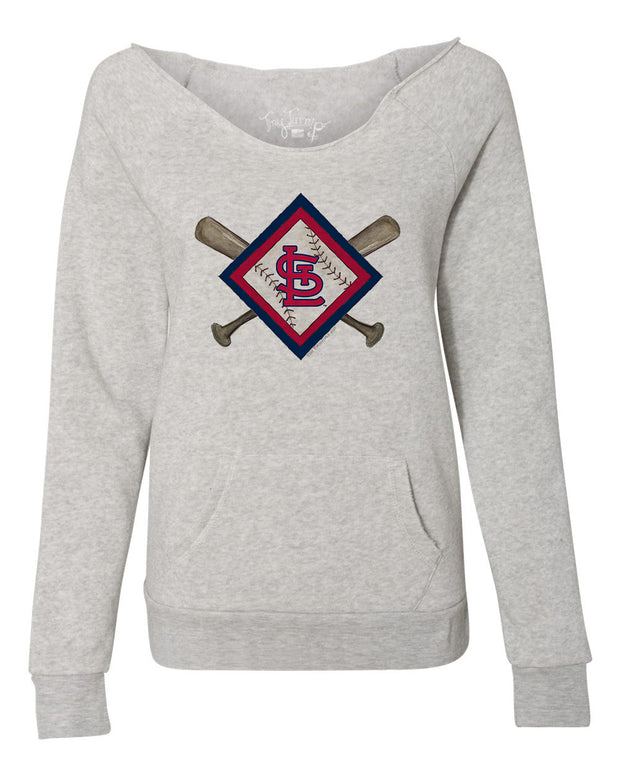 St. Louis Cardinals Women's Diamond Crossbats Slouchy Sweatshirt