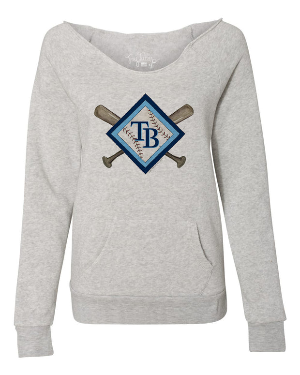 Tampa Bay Rays Women's Diamond Crossbats Slouchy Sweatshirt