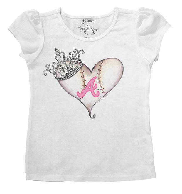 Atlanta Braves Infant Tiara Heart Puff Sleeve Tee