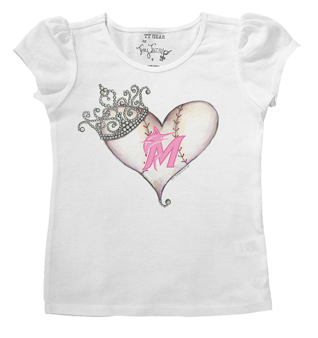 Miami Marlins Infant Tiara Heart Puff Sleeve Tee