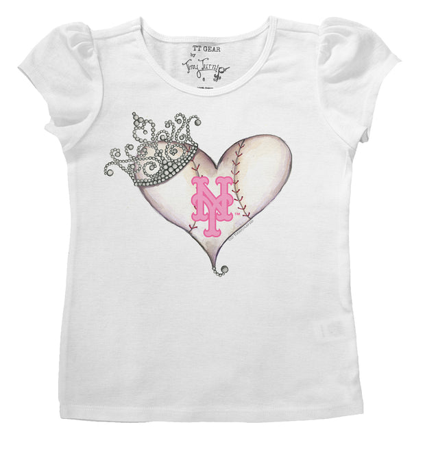 New York Mets Infant Tiara Heart Puff Sleeve Tee